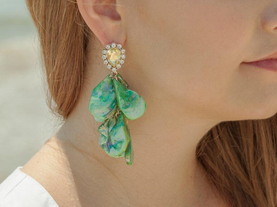gros plan, turquoise, pierre, boucle d'oreille