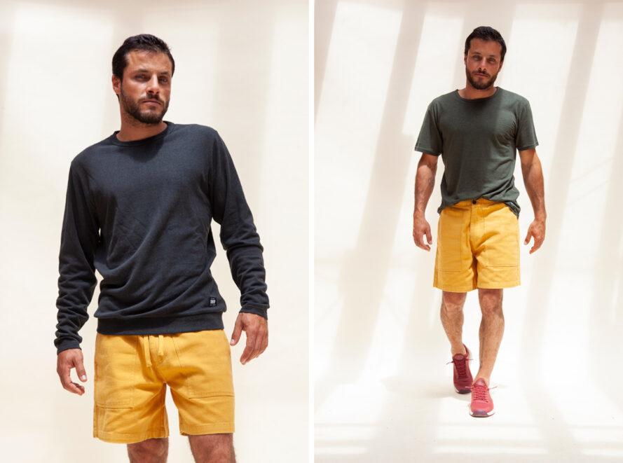 personne portant un short jaune et une chemise en chanvre gris