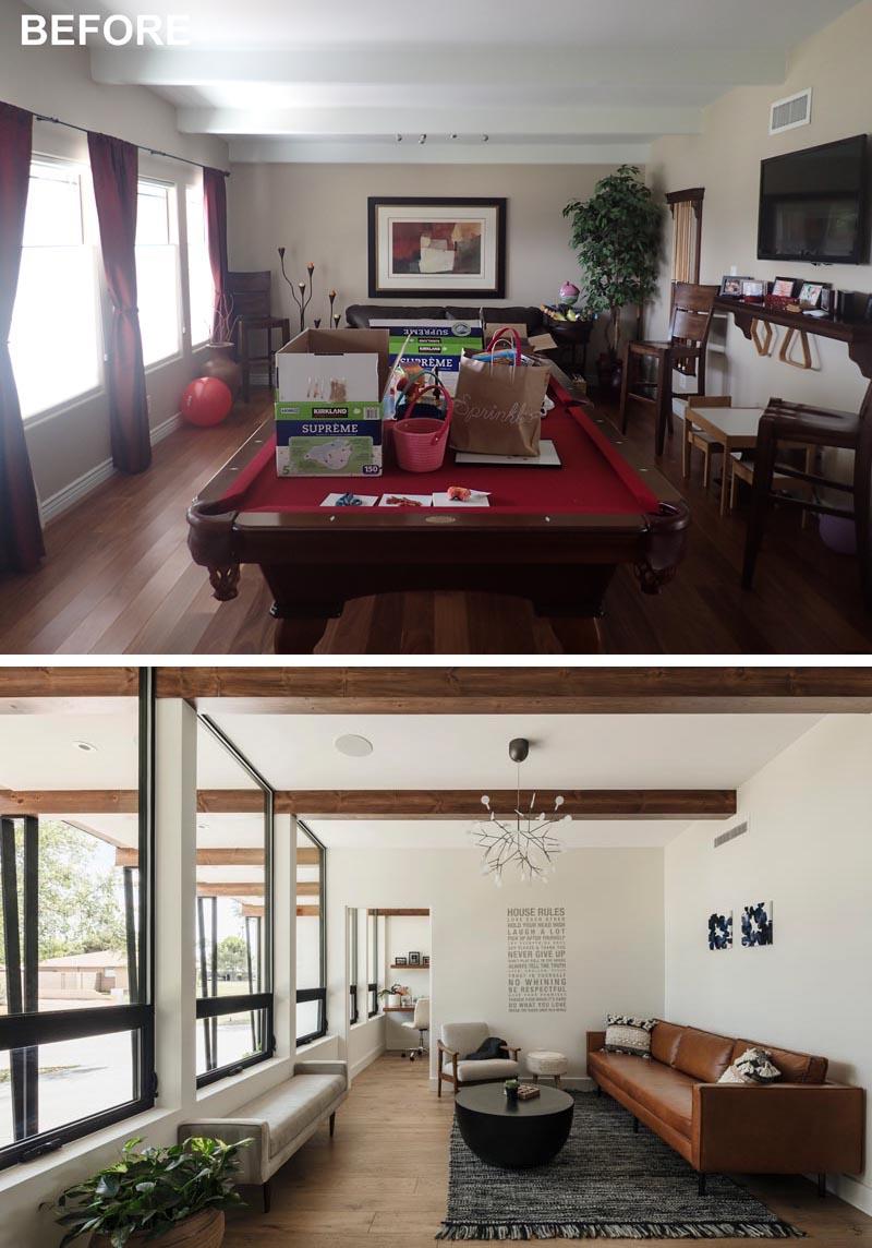 Une salle de jeux rénovée transformée en salon moderne et bureau à domicile.