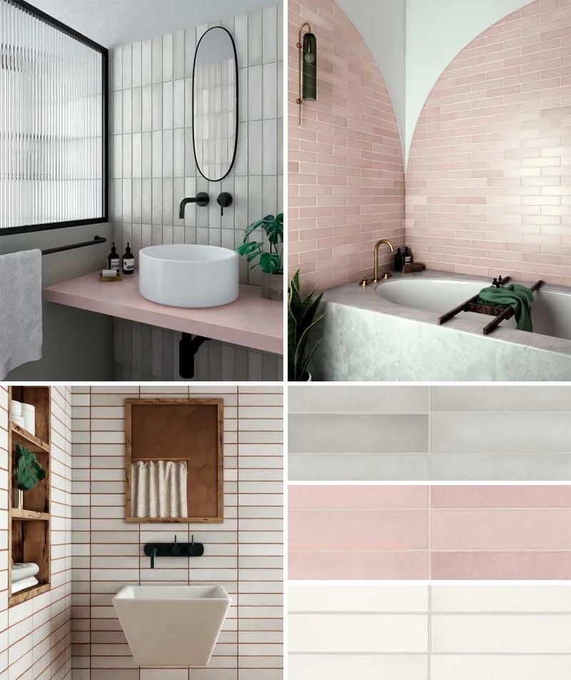 Une collection de carreaux de mur de salle de bain rectangulaires allant du gris froid au rose poudré doux et au blanc naturel.