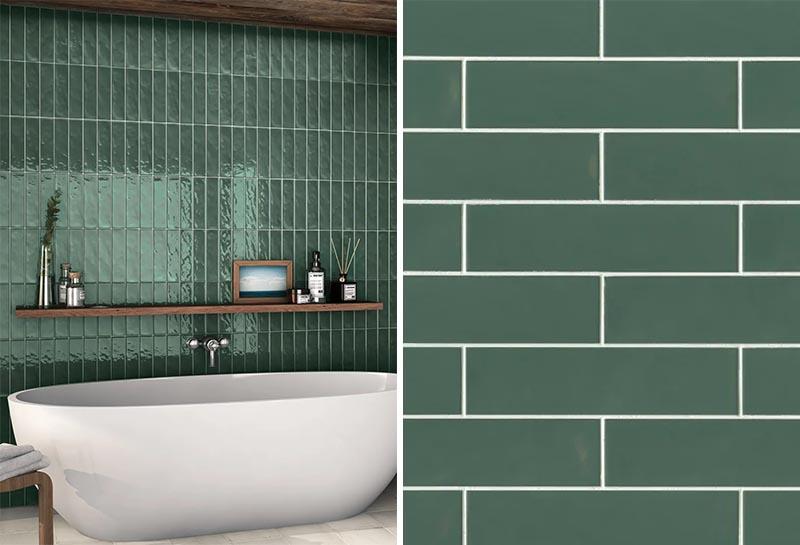 Un mur de salle de bain en céramique rectangulaire moderne dans un vert foncé.