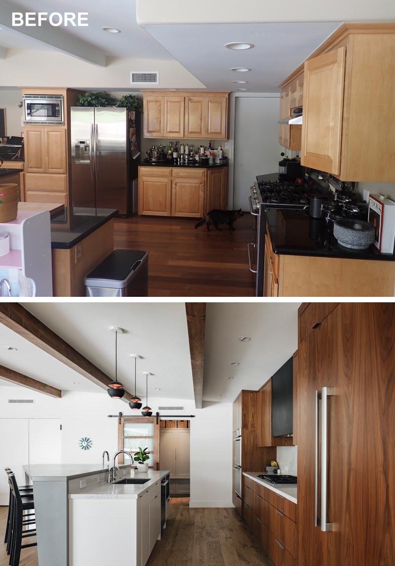 Une ancienne cuisine a été rénovée avec de nouvelles armoires en bois foncé et une porte coulissante vers le cellier et la buanderie.