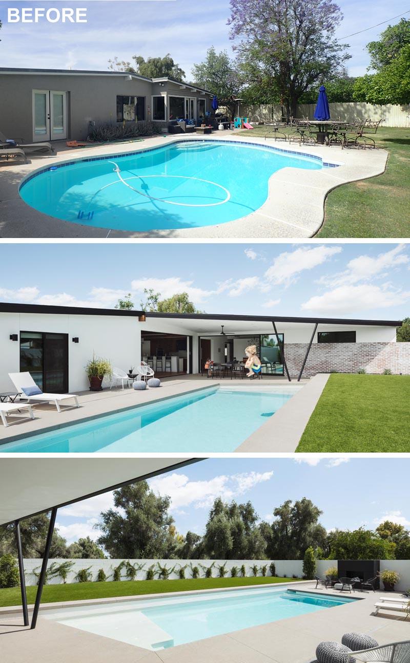 Une cour rénovée comprend une nouvelle piscine rectangulaire et un patio couvert.