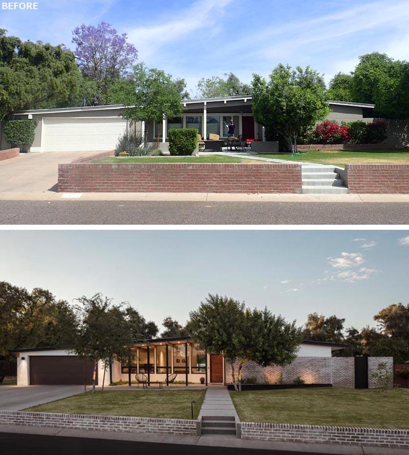 Une maison moderne du milieu du siècle a été rénovée avec des finitions modernes.