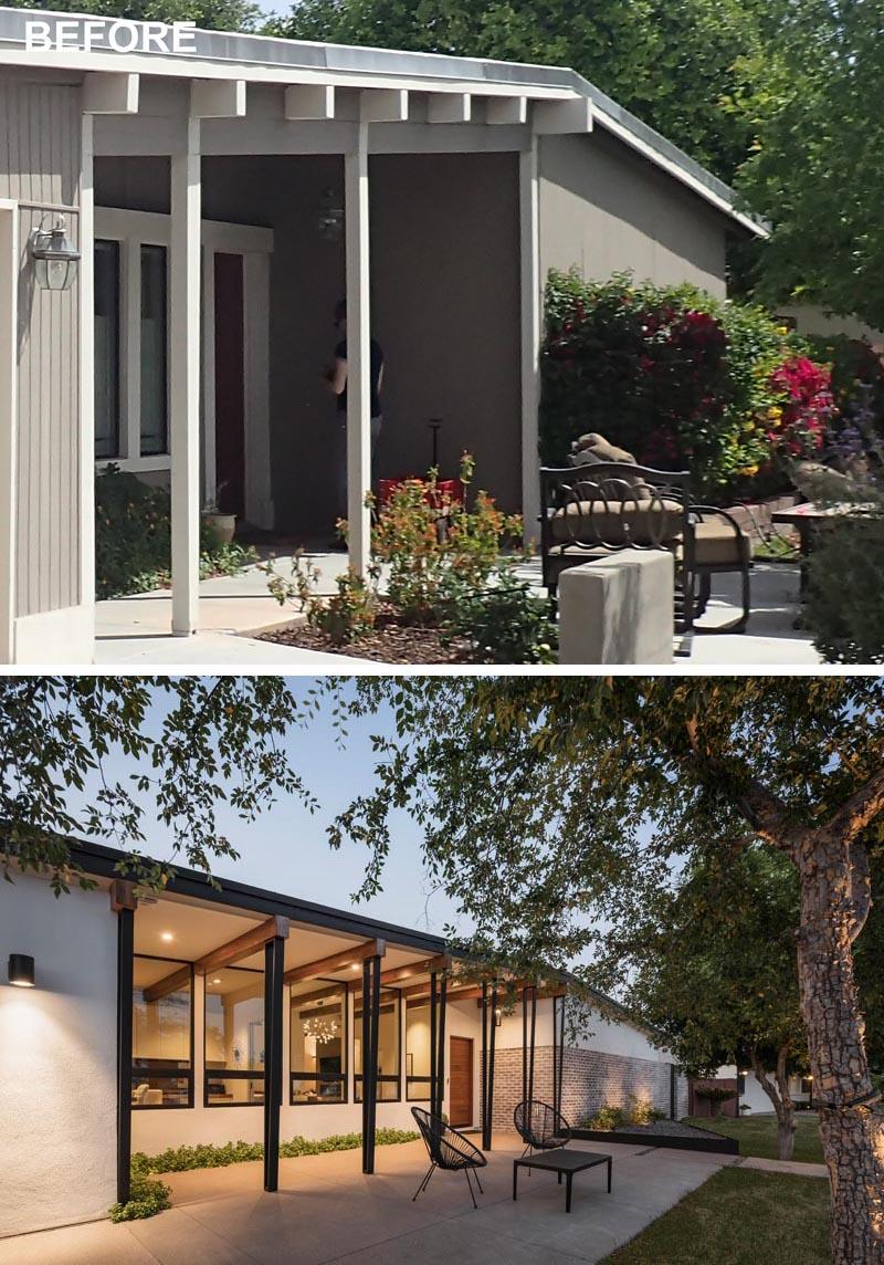Une maison moderne du milieu du siècle a été rénovée pour inclure un nouveau porche avant avec des colonnes en acier.