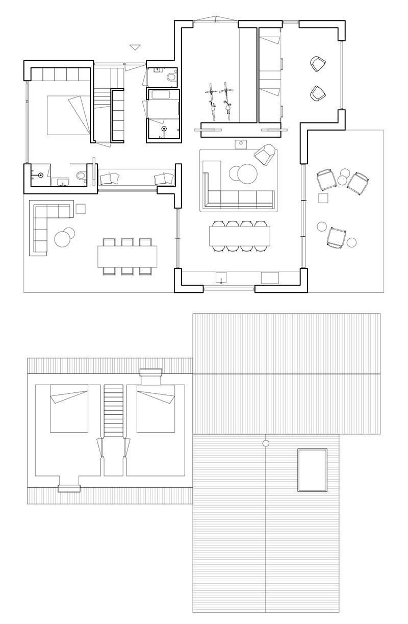 Le cabinet d'architecture HofmanDujardin a récemment achevé une nouvelle villa de vacances à Tonden, aux Pays-Bas, pour leurs clients qui voulaient échapper à l'agitation de la ville.  #FloorPlan #HouseLayout #ModernHouse