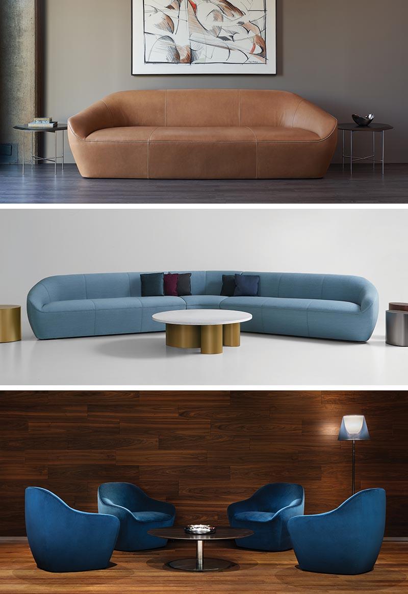 Terry Crews a conçu Becca, un salon et un fauteuil entièrement rembourrés, aux courbes douces et dans une variété de tailles.