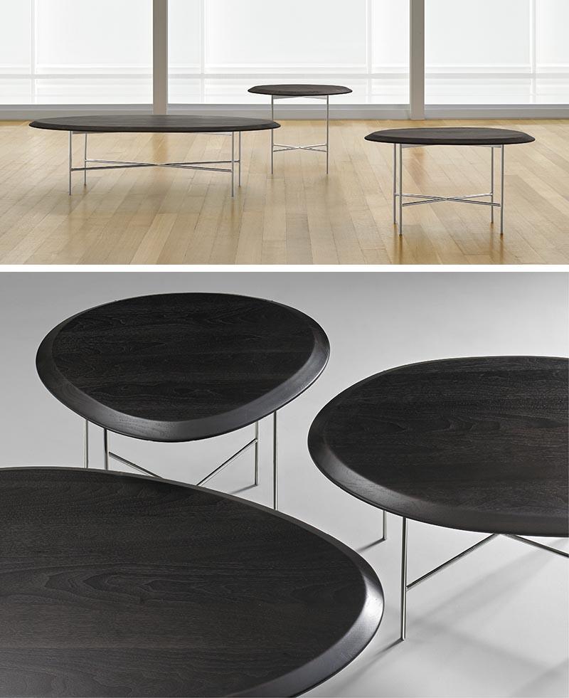 Terry Crews a conçu Float, une table d'appoint de 1 po d'épaisseur de forme organique avec un dessus en noyer massif.