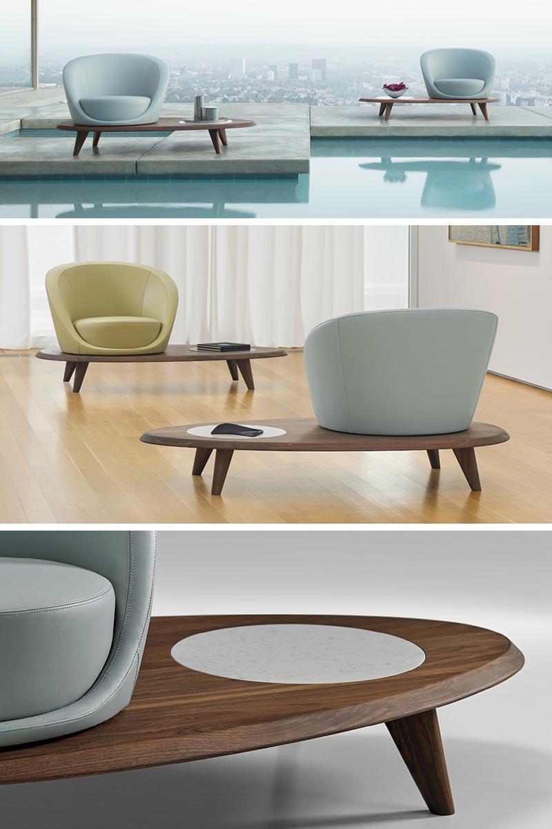 Terry Crews a conçu Lilypad, un fauteuil pivotant qui repose sur une plateforme en noyer massif.