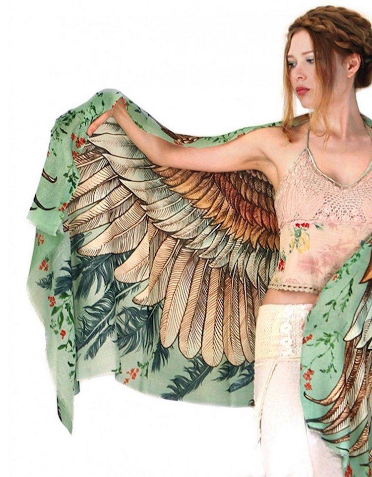 Écharpe Oiseau Vintage