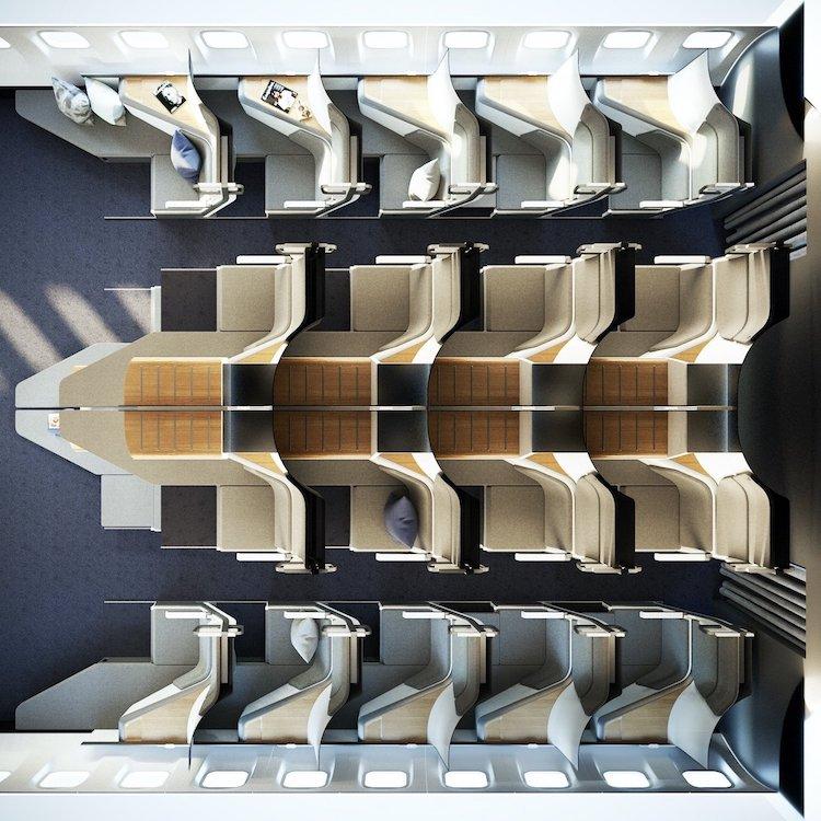Configuration des sièges à l'aide de sièges Zephyr sur avion