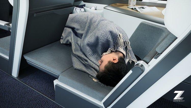 Passager allongé et dormant en vol
