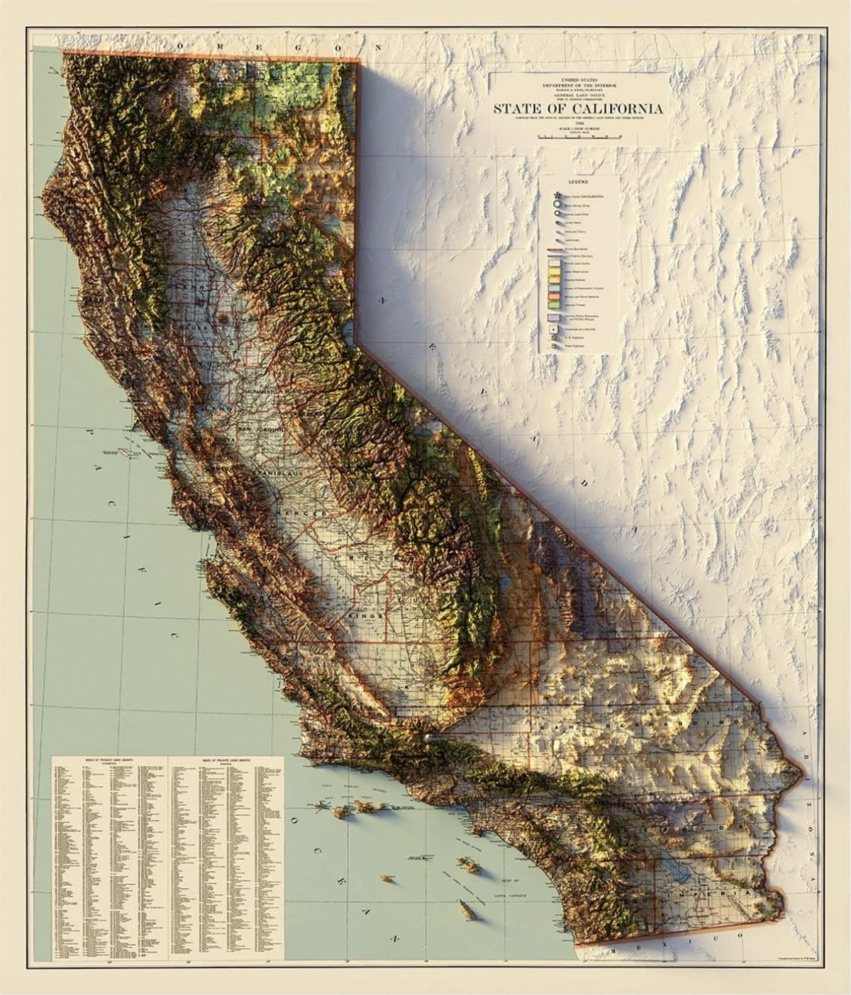 Carte en relief de l'état de Californie