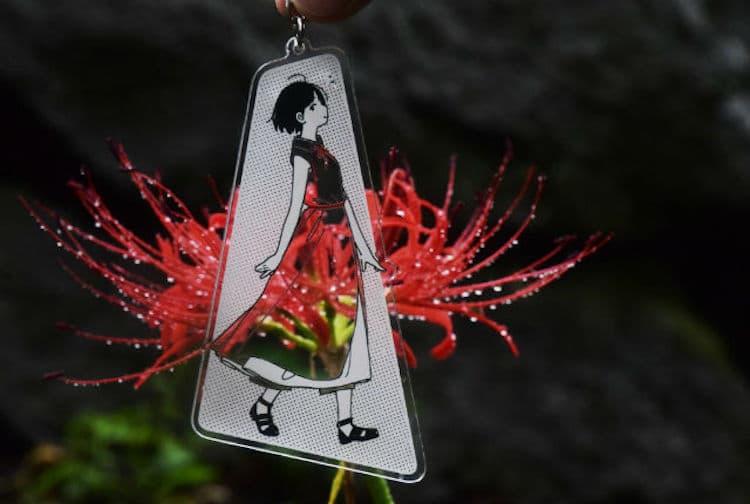 Porte-clés illustré transparent par Kamome Fuyuno