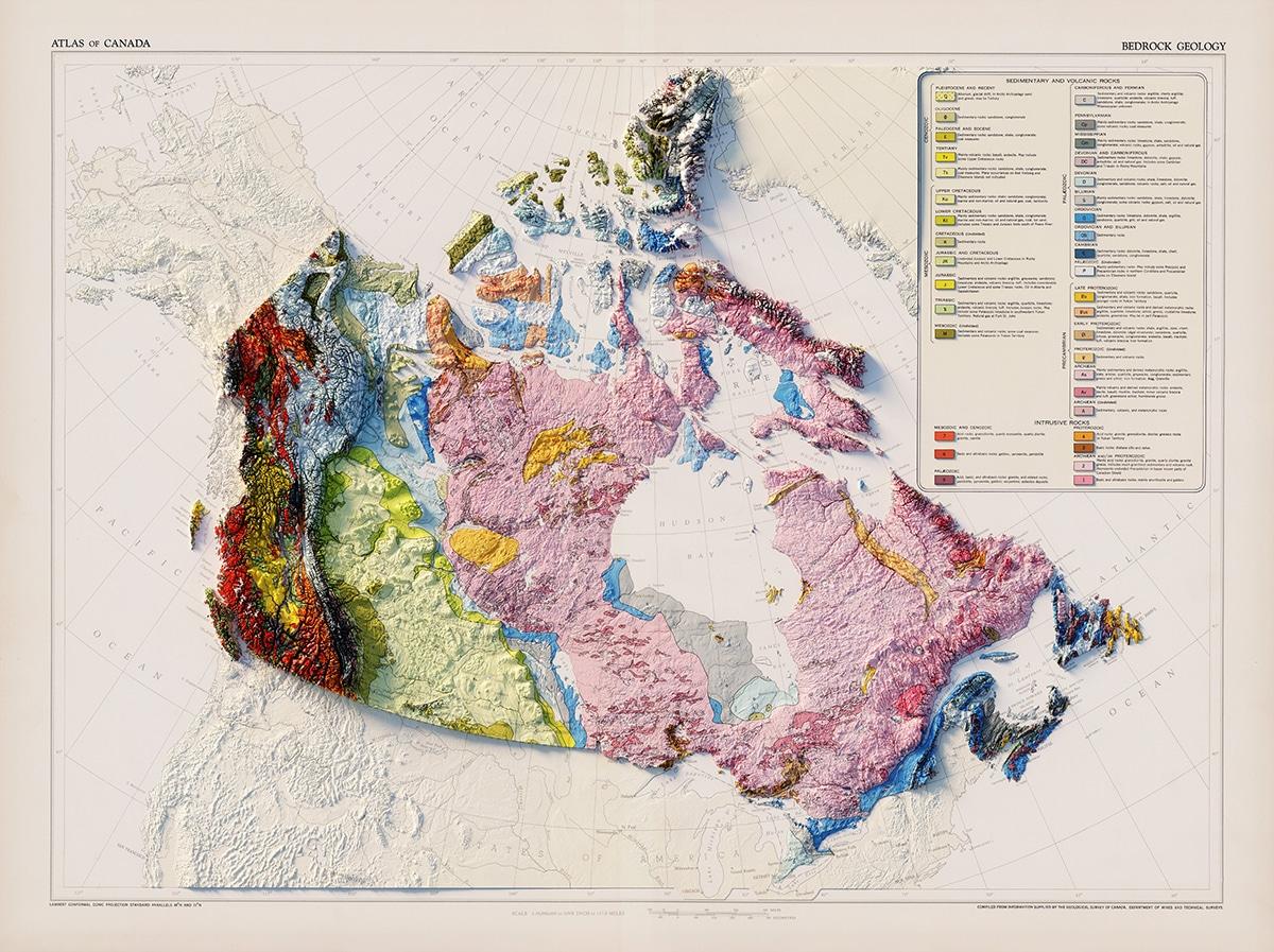 Carte géologique vintage du Canada