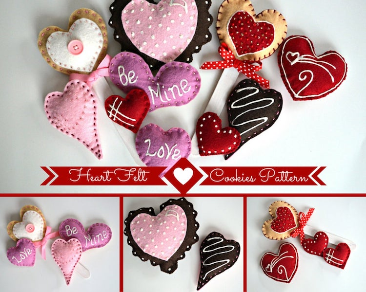Kit de biscuits en feutre de coeur
