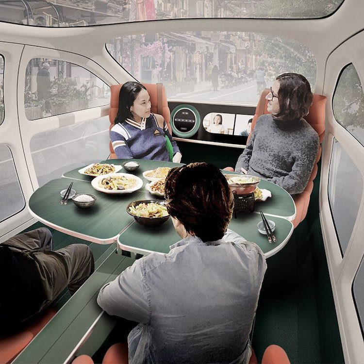 Intérieur de salle à manger de voiture électrique Airo