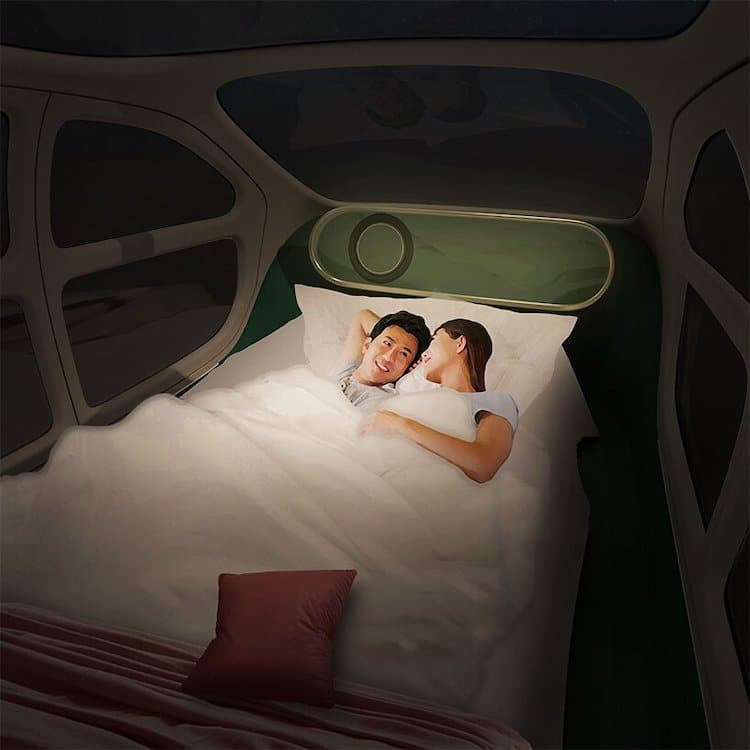Espace de couchage intérieur pour voiture électrique Airo