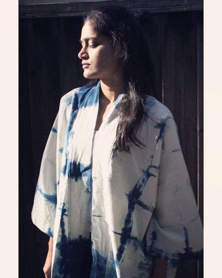 Kimono teint Shibori