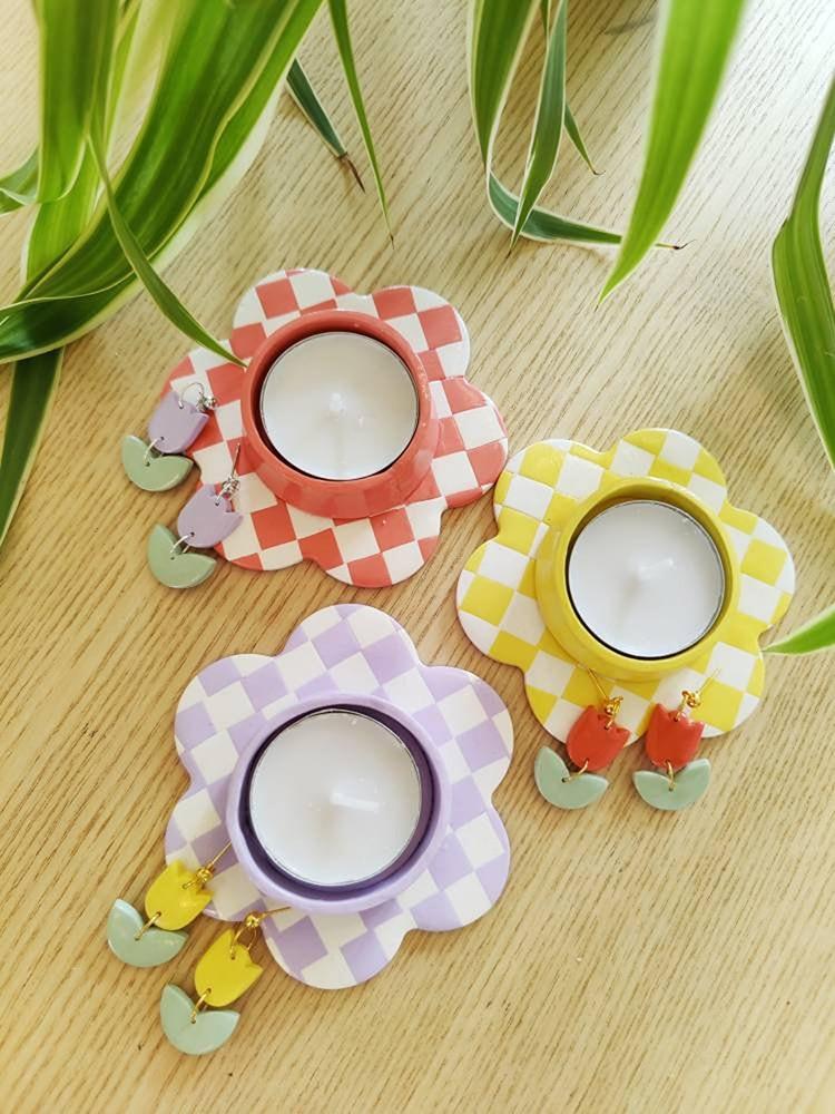 Bougeoir mignon en céramique en forme de fleur