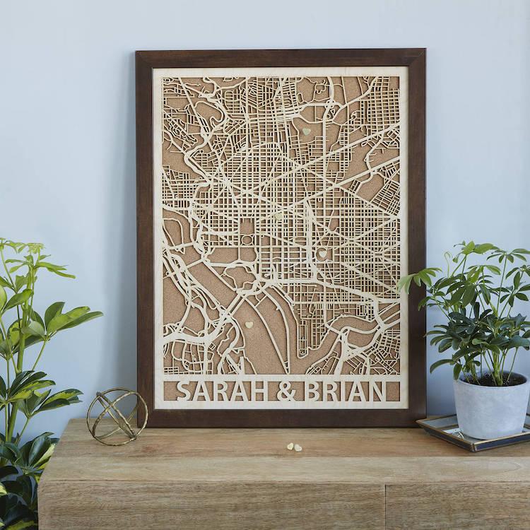 Plan de ville personnalisé en bois découpé