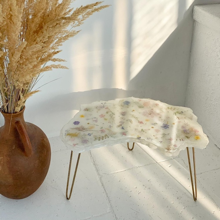 Table en cristal de fleur