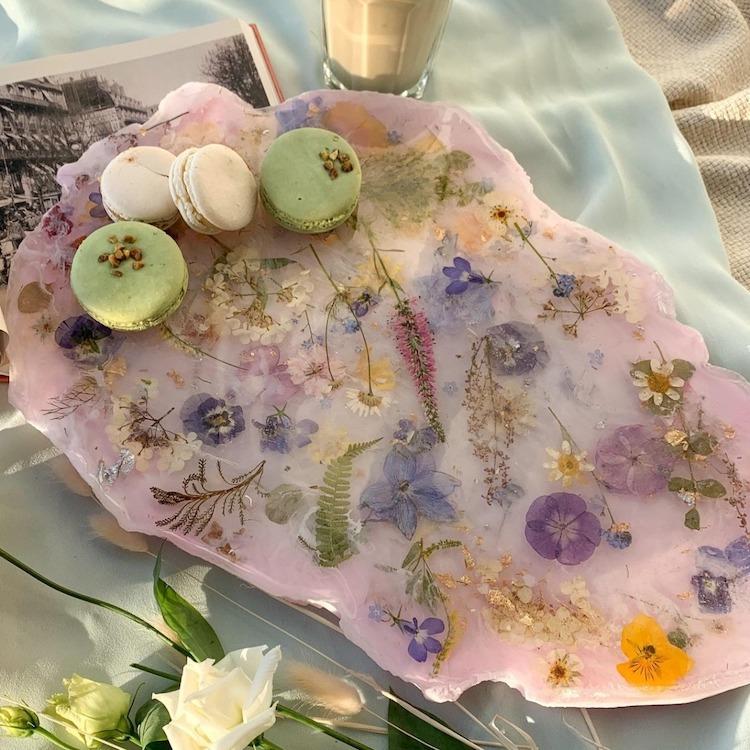 Plateau de nourriture en cristal de fleur