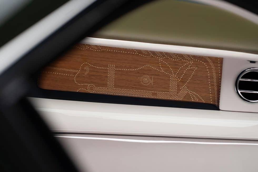 Détails intérieurs de la Rolls-Royce et Hermès Phantom Oribe