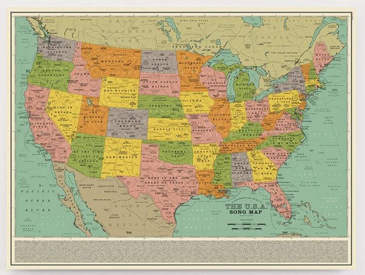 Carte des chansons des États-Unis Poster