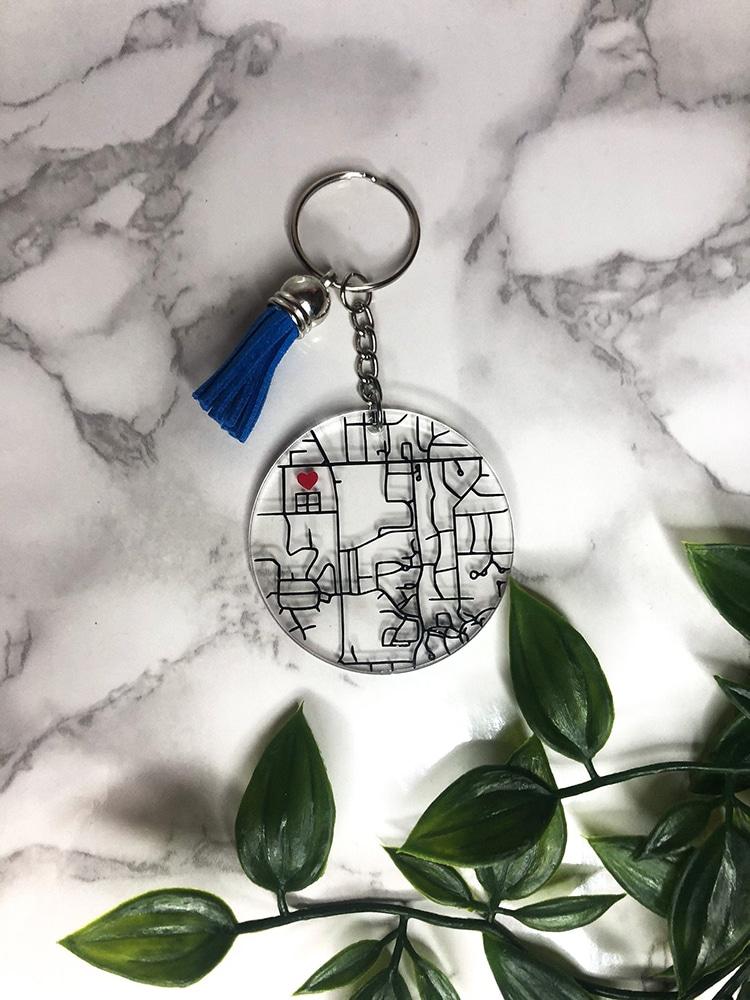 Où nous avons rencontré le cadeau de porte-clés de carte acrylique