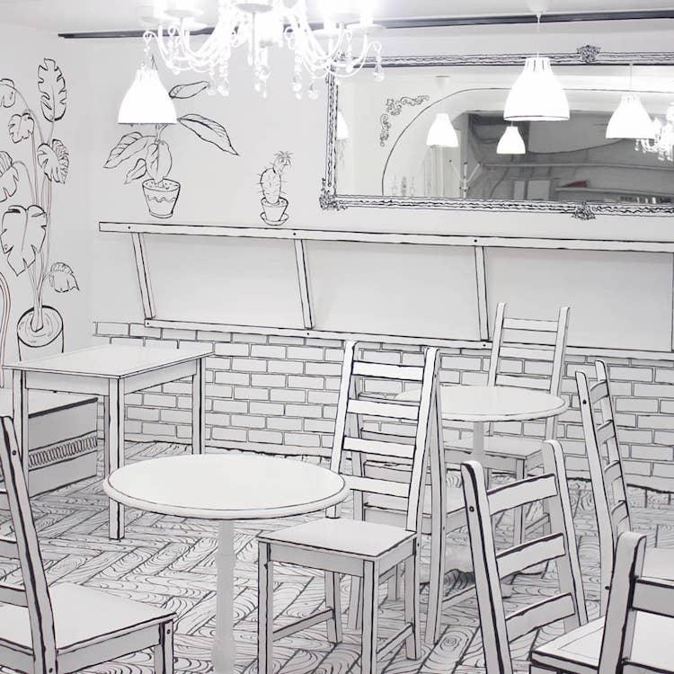 Café de dessin animé à Moscou Russie