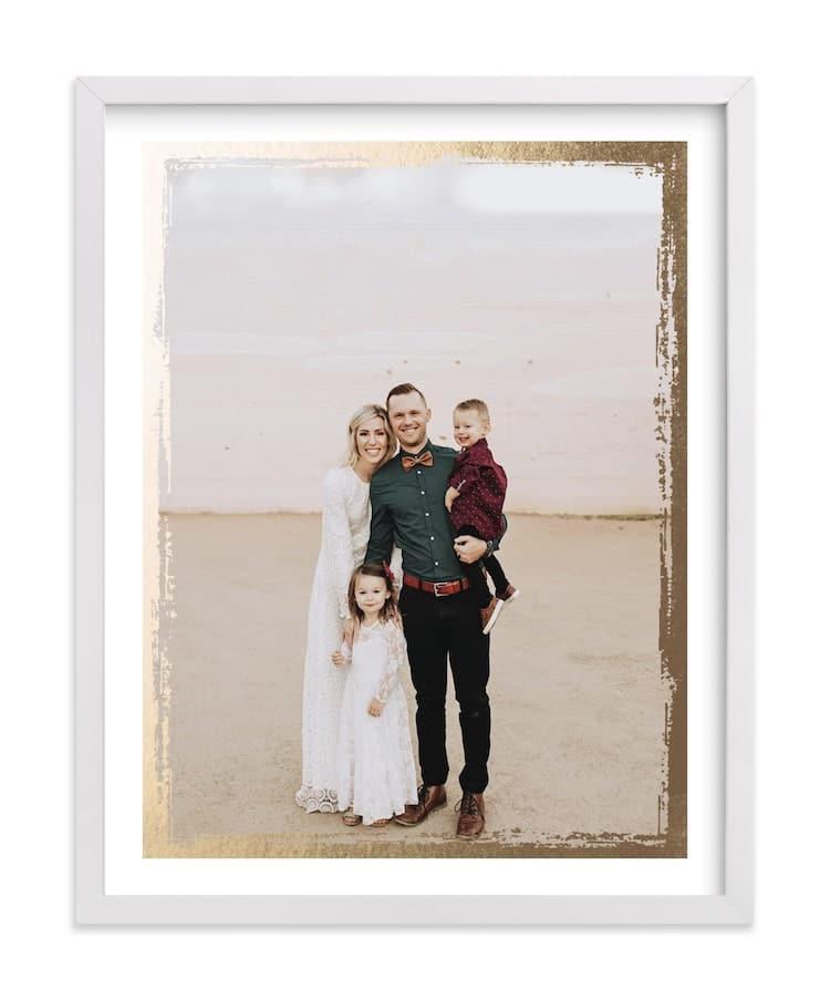 Impression photo avec feuille d'or sur frappé