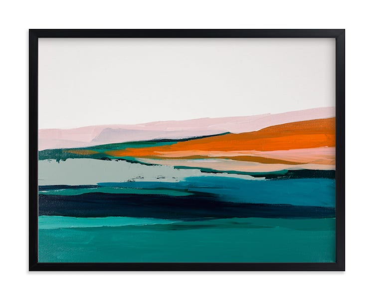 Paysage marin abstrait coloré sur frappé