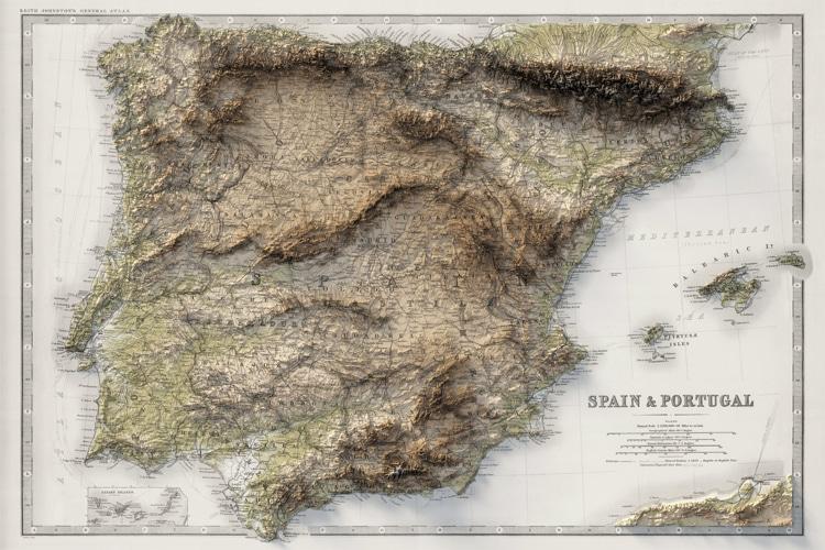 Carte de l'Espagne et du Portugal