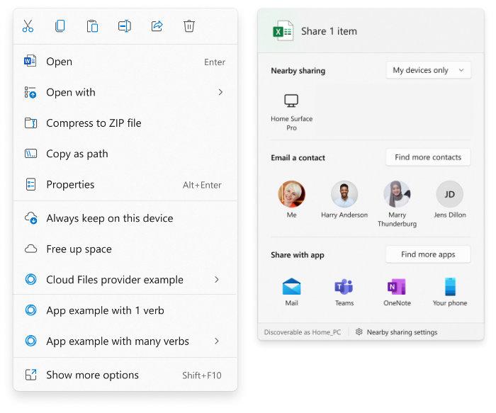 Améliorations et partage du menu contextuel de Windows 11