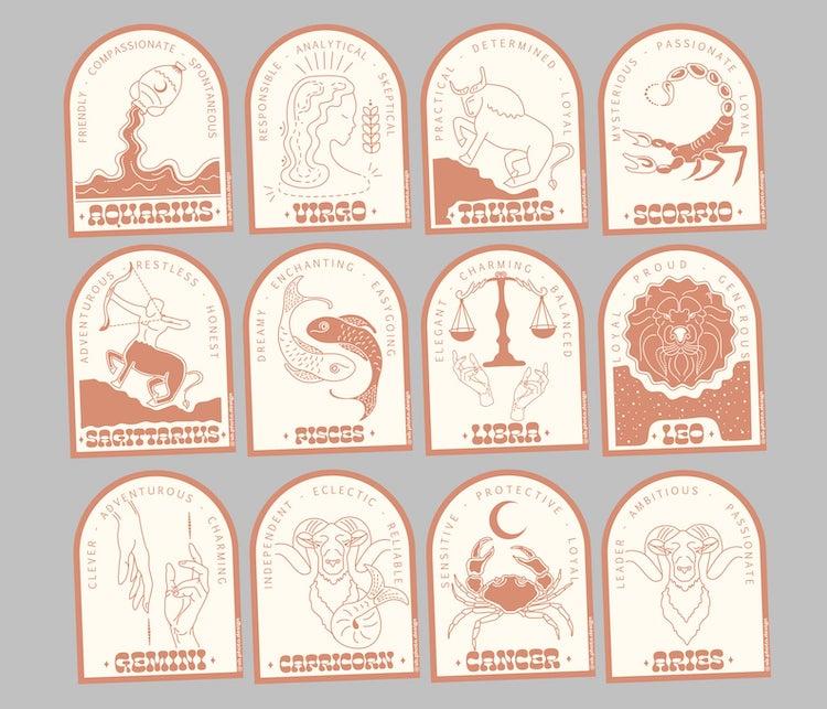 Autocollants en vinyle du zodiaque