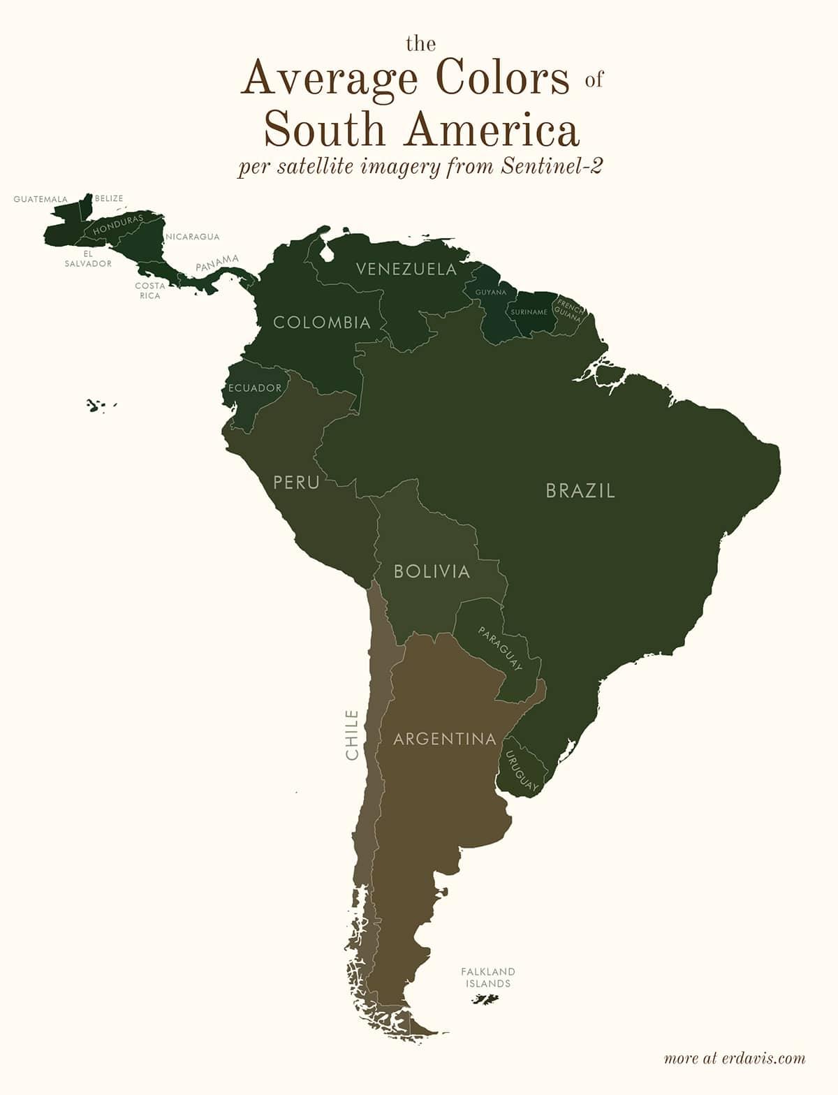 Carte des couleurs moyennes de l'Amérique du Sud