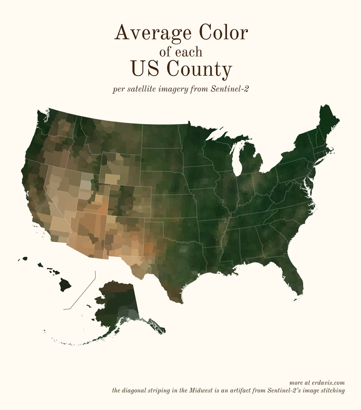 Erin Davis Couleurs moyennes des cartes satellite du monde à partir de données