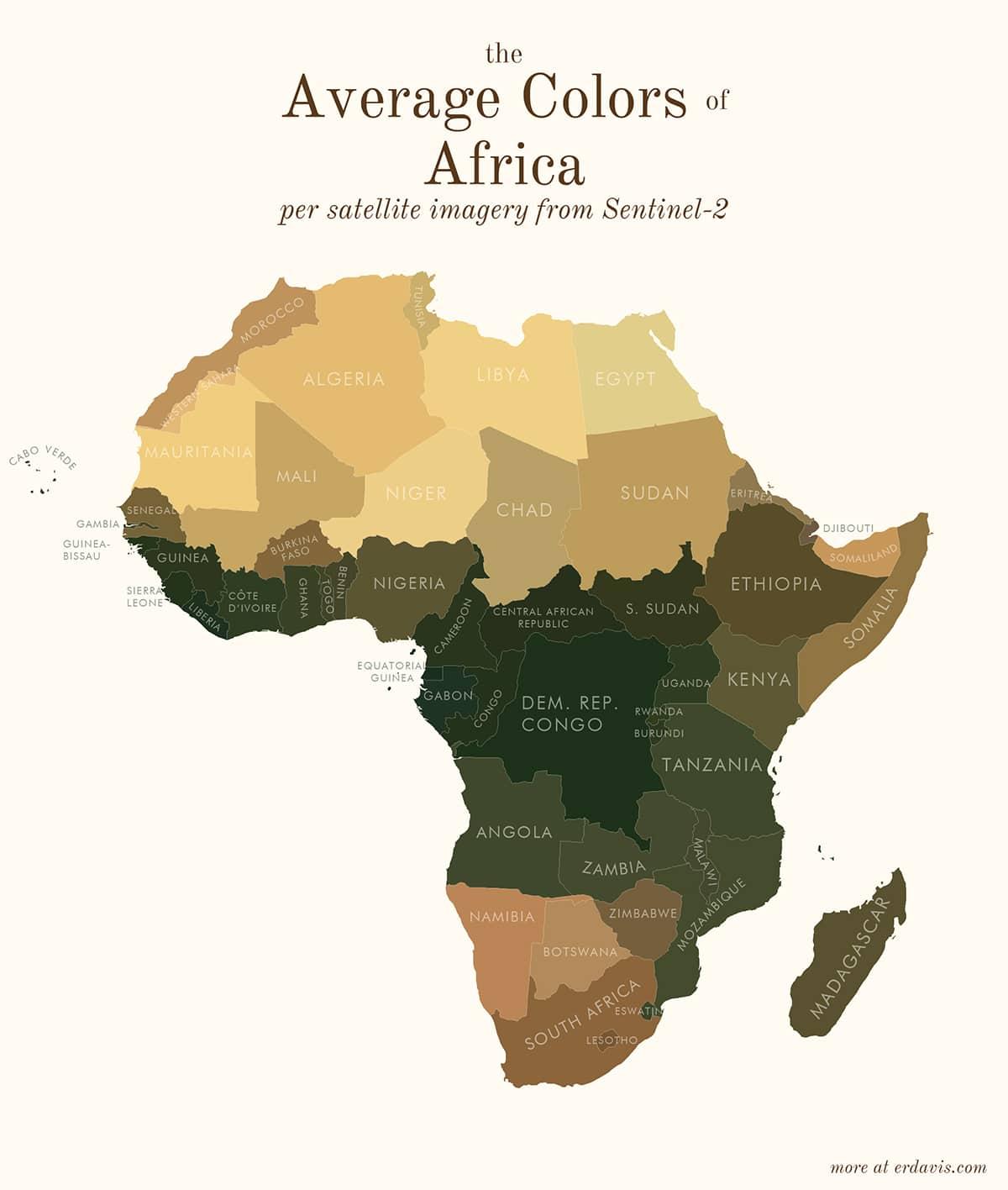 Carte des couleurs moyennes de l'Afrique