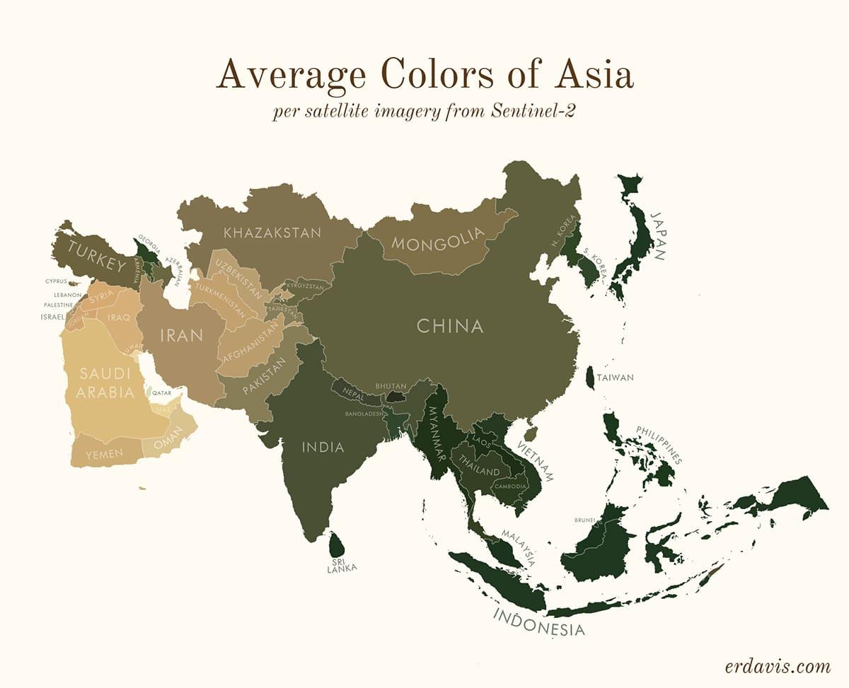Couleurs moyennes de l'Asie