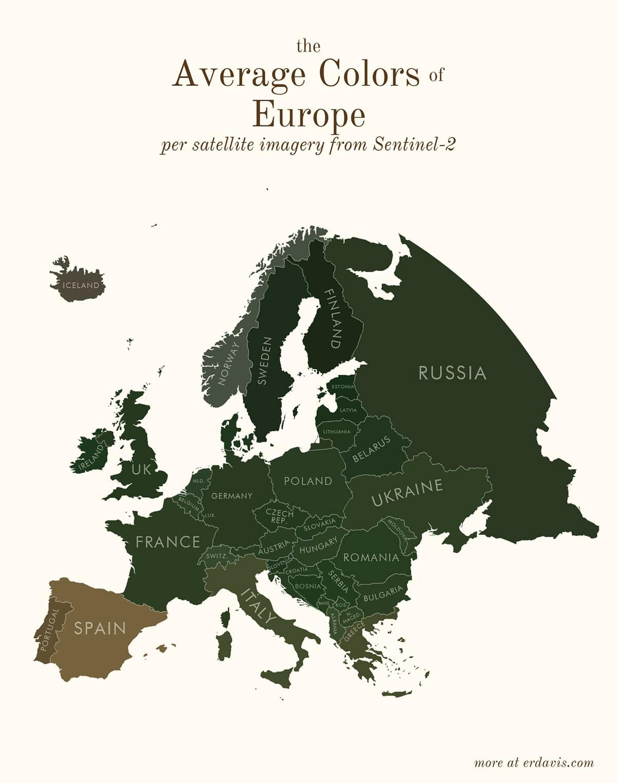 Carte Europe des couleurs moyennes à partir des données