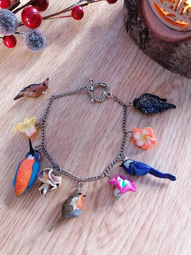 Bracelet Argile Polymère Avec Oiseaux