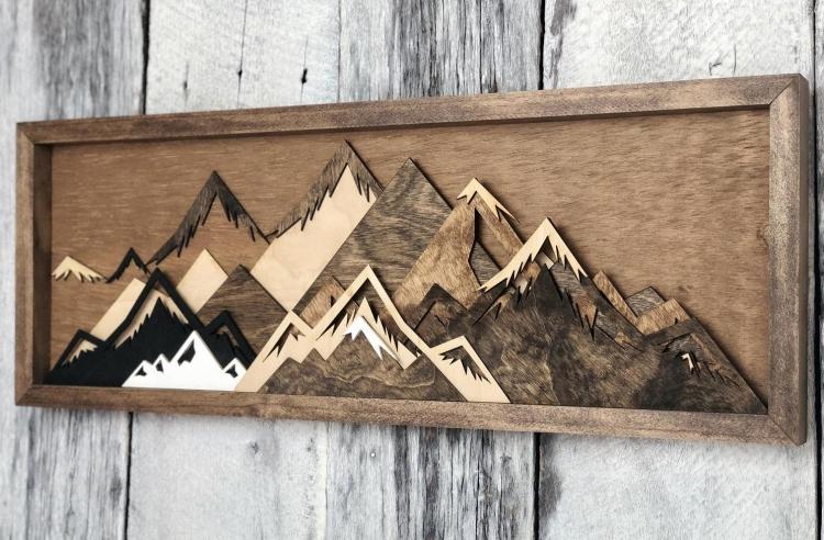 Art mural montagne bois