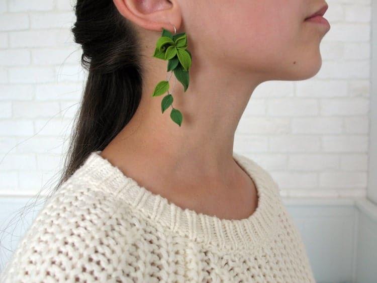 Boucles D'oreilles Feuille Verte