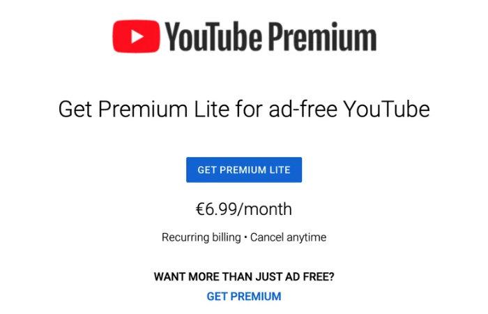 YouTube teste l'abonnement gratuit à la publicité Premium Lite