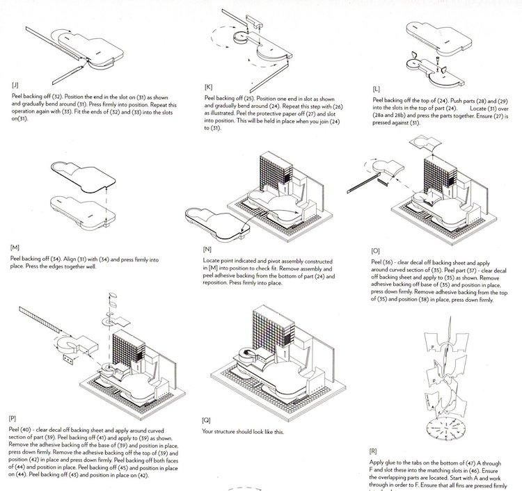 Instructions pour le kit de maquette du musée Guggenheim des projets Frank Lloyd Wright