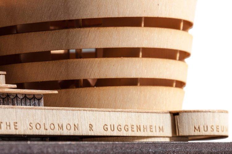 Détail du kit de maquette du musée Guggenheim des projets Frank Lloyd Wright