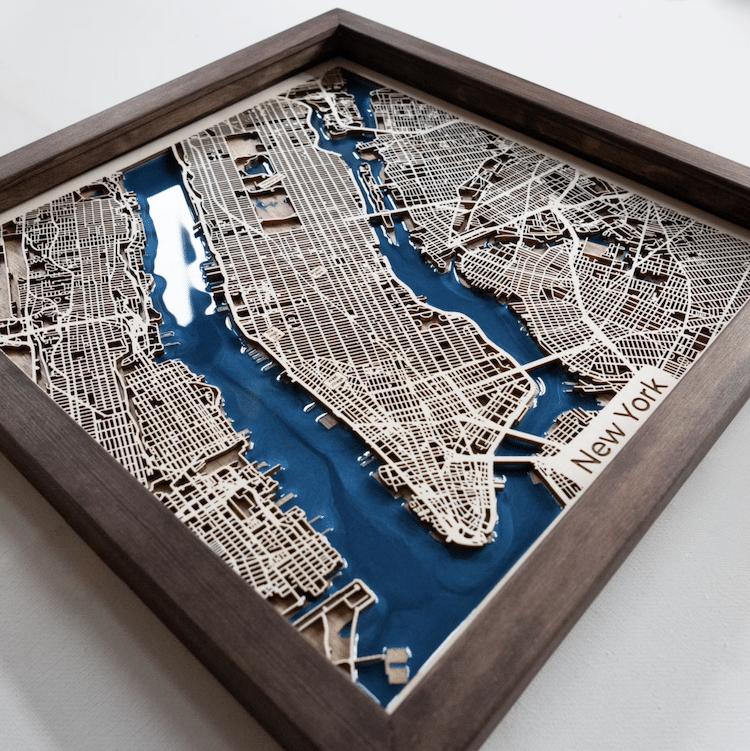 Carte en bois de New York