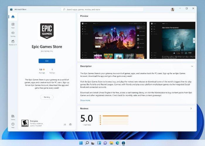 Jeux épiques du Microsoft Store