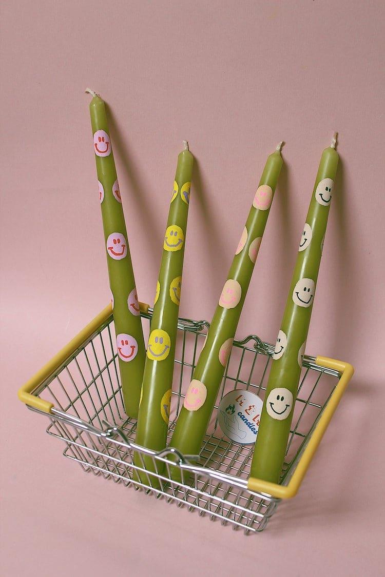 Bougie bâton vert limitée à imprimé smiley